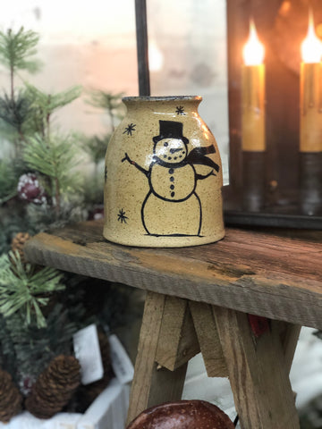 Pottery Small Canning Crock W/ Snowman - Light Color