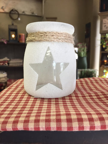 Clear Glass Jar W/ Star Cut Out