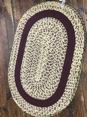Braided Rug - Tan & Burgundy