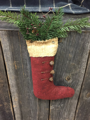 Burgundy Felt Stocking w/ Greens