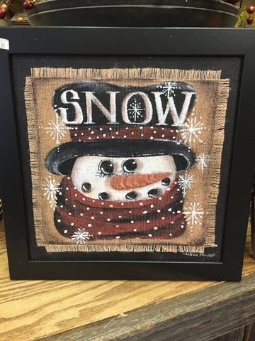 Snowman Picture - Wooden Black Frame