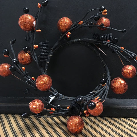 4 in Black & Orange Sparkle Wreath/ Candle Ring