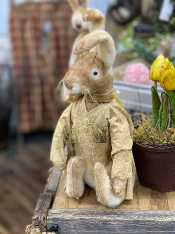 Primitive Bunny W/ Coat and Grass