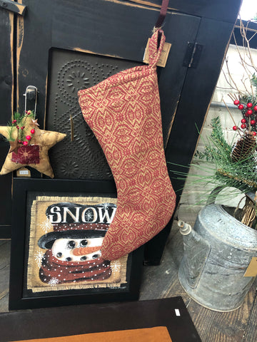 Small Burgundy Coverlet Stocking