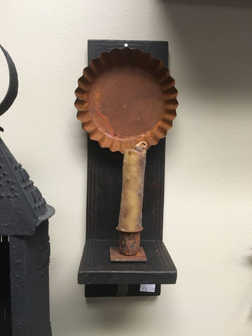 Wooden Sconce w Rusty Pan & Candle