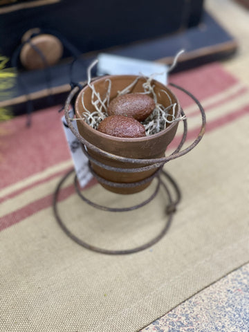 Terra-Cotta Pot w/ Eggs On Rusty Spring