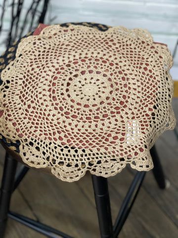 Round Tea Stained Doily 15""