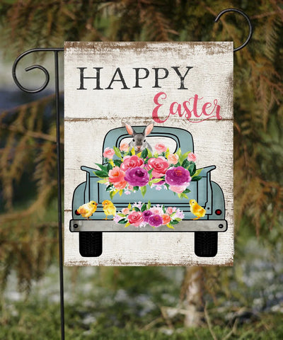 Happy Easter Bunny Blue Truck Garden Flag