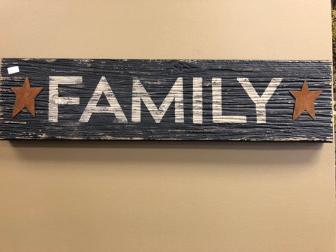 Black Distressed Family Sign W/ Rusty Stars