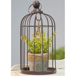 Metal Birdcage W/ Cement and Jute Plant Holder