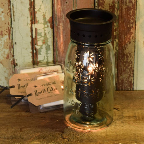 Punched Stars Quart Mason Jar Wax Warmer Kit - Rustic Brown
