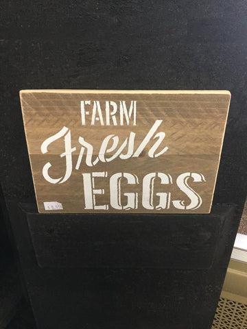 Farm Fresh Eggs Wood Sign - White Letters