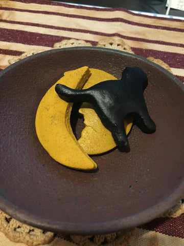 Halloween Salt Dough Bowl Filler - 2 Moons, 1 Black Cat