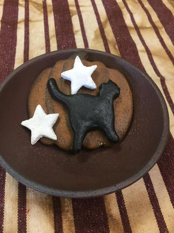 Halloween Salt Dough Bowl Filler - 1 Pumpkin, 1 Black Cat, 2 Stars