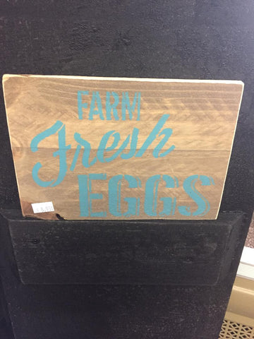 Farm Fresh Eggs Wood Sign - Turquoise Letters