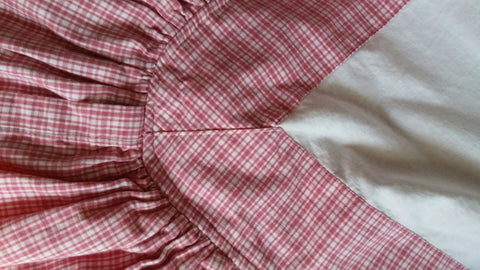 SOLD Bedskirt Dust Ruffle Lined Gingham Check Custom Made King Rosy Red & White,