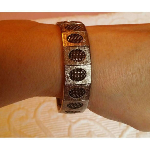 Bracelet Brushed Link Silver Metal With Screen Mesh