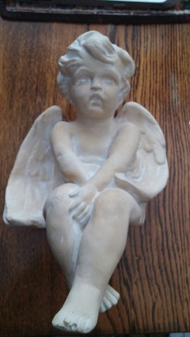 SOLD MOST ITEMS ARE ! OFS Cherub Sitting Angel Statue Figure Stamped By Art-Tech