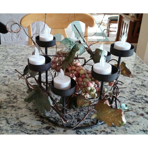 Candle Holder Bronze Metal Rustic 7 Place Tea Votive w Vines Berries Leaves on countertop