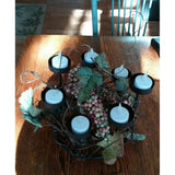 Candle Holder Bronze Metal Rustic 7 Place Tea Votive w Vines Berries Leaves looking pretty