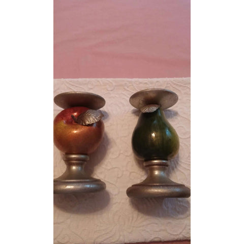 Department 56 Metal Apple & Pear Candle Holders