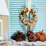 "A Cork Wreath Made With Corks 14"" x 13"" x 3 1/2"" styling on blue shutters"