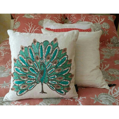##******Beaded Sequined Cynthia Rowley Velvet Peacock Throw Pillow + Insert - 1