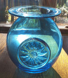 ##*********Vase Crystal HandCrafted Mouth Blown Dartington Daisy Blue - 3