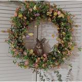 "Grapevine Twig Wreath Thin Grapevine Colorful Faux Eggs Flowers Large 22""x22"""