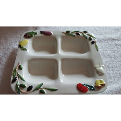 Serving Dish Fatto O Mano Divided Decorative
