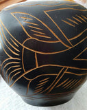 SOLD MOST ITEMS ARE 1 OF'S Container Black Round Carved Wood,