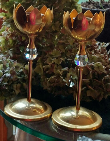 SOLD Brass Solid Brass Gatco Pair of Candle Stick Holders