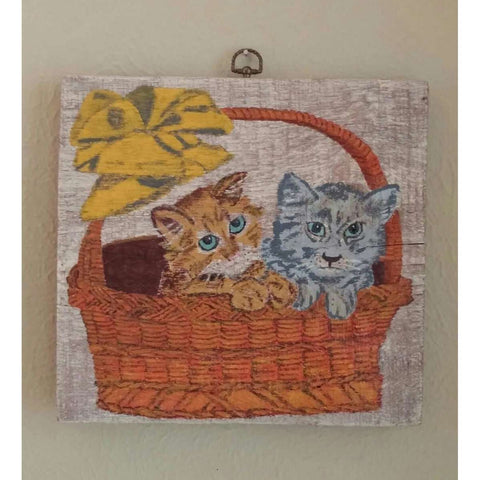 Cute Wood Sign Hand Painted Wall Hanging 2 Kitties Basket Gold Bow