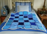 "SOLD Afghan Handmade Crocheted Multi Blue Colors 40"" x 36"","
