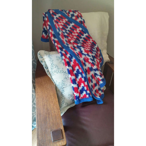 Afghan Throw Light Weight Handmade Crochet Red White & Blue