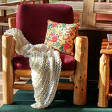 "SOLD Afghan Throw Handmade Crochet Yellow And White 54"" x 72"","