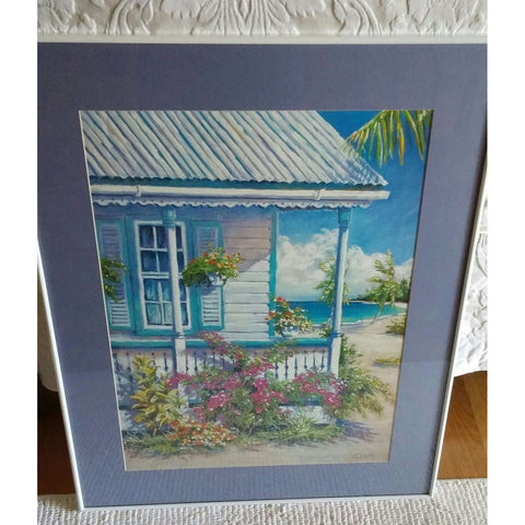 Lithograph Signed Numbered of an Original John Clark Pastel Painting Cayman Porch