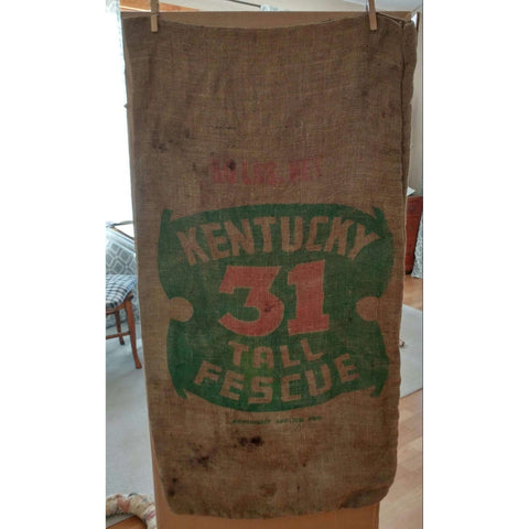 Burlap Kentucky 31 Tall Fescue Vintage Sack Bag