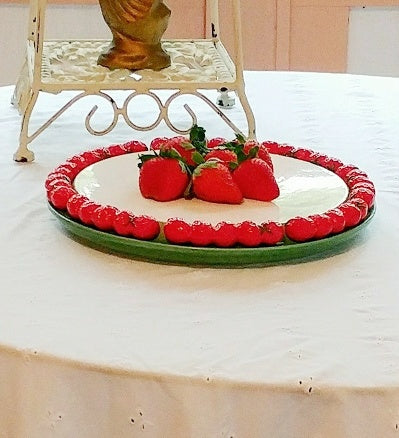 Cute Les Fraises JSC Vintage Ceramic Strawberry Edged Server Styled With Strawberries