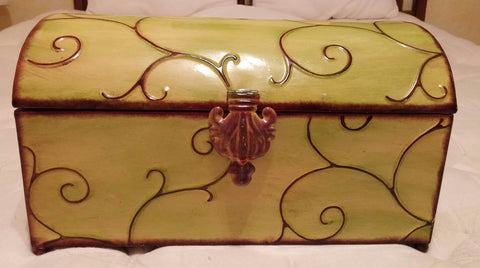 SOLD Tin Metal Domed Treasure Chest With Scroll Design,