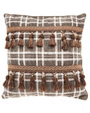 SOLD Throw Pillow by Nina Campbell Marble Hill Plaid Fringe Tassels Dk Brown - 6