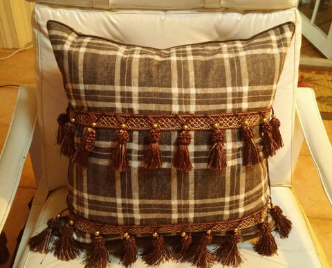 SOLD Throw Pillow by Nina Campbell Marble Hill Plaid Fringe Tassels Dk Brown - 1