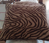 "SOLD 2 Pier 1 Chenille Zebra Throw Pillows - Chocolate 17""x17"""