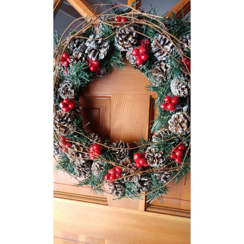 Cute Real Pinecone With Flocking Greens Glitter Berries Wreath