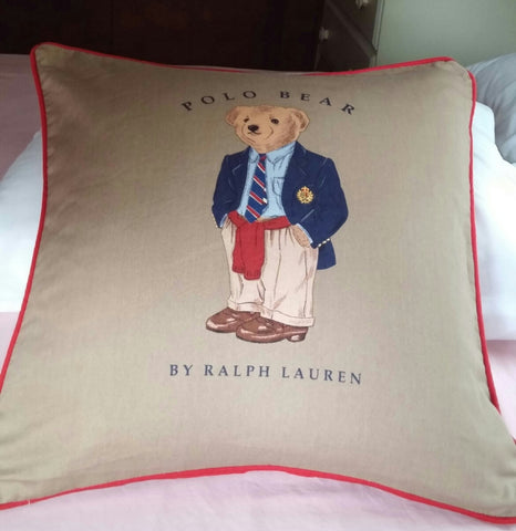 "SOLD Most Items are 1 of's  ##* #Throw Pillow #Polo Bear by #Ralph Lauren 18""x18"""