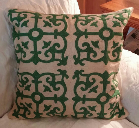##*****Throw Pillows Pottery Barn Crewel Medallion + PB Inserts Discontinued - 1