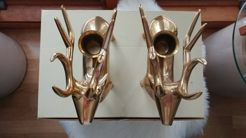 Pottery Barn Pair Brass Reindeer Candle Holders from overhead
