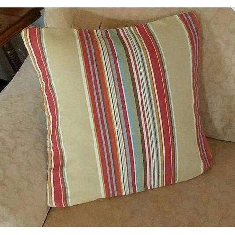 "PB Throw Pillow Pottery Barn 18"" Stripe Khaki Tan Teal Rust + PB Insert"