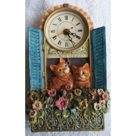 Clock Vintage Purr Fect Timing Kitties Kittens Cats Working