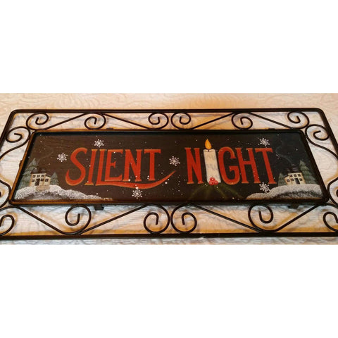 Cute Silent Night Slate Tile With Metal Scroll Holder Wall Hanging